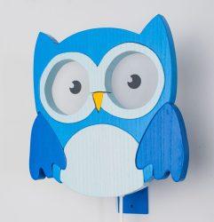 Bagoly kék fali lámpa