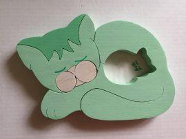 Zöld cica fali lámpa