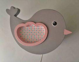 Bagoly szürke-rózsaszín fali lámpa