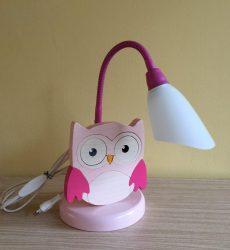 Bagoly pink asztali lámpa