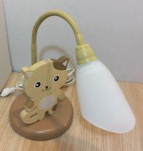 Cica asztali lámpa , barna