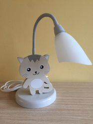 Cica asztali lámpa , szürke