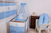 Babaágynemű garnitúra 4 részes - Lulu bagoly - kék pöttyös
