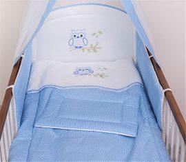 Babaágynemű garnitúra 3 részes - Lulu bagoly - kék pöttyös
