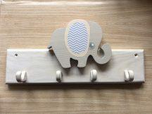 Elefánt 4 akasztós fogas, fehér
