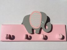 Elefánt 4 akasztós fogas, rózsa