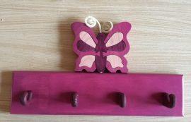 Pillangós  4 akasztós fogas, lila