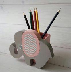 Elefánt ceruzatartó, rózsa
