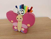 Pillangó ceruzatartó, pink