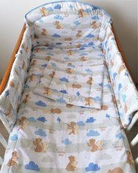 3 részes  babaágynemű szett Mackótestvér - kék