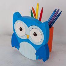 Bagoly kék ceruzatartó