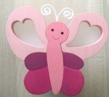 Pillangó fali lámpa, pink/rózsa