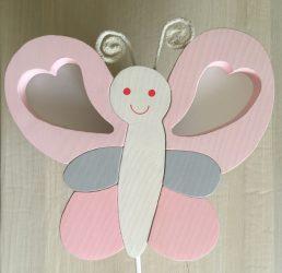 Pillangó fali lámpa, rózsa/fehér/szürke