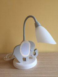 Elefánt asztali lámpa, fehér