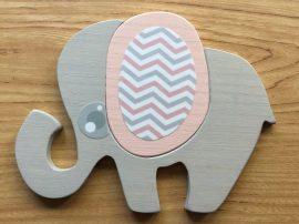 Elefánt rózsaszín bútordísz