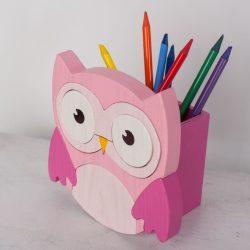 Bagoly pink ceruzatartó