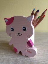 Cica ceruzatartó, pink
