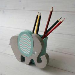 Elefánt ceruzatartó, türkiz
