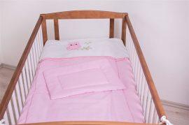 2 részes babaágynemű szett  Lulu bagoly - rózsaszín pöttyös