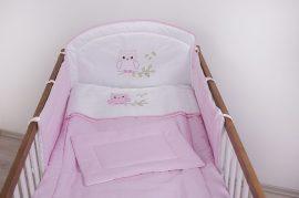 3 részes babaágynemű szett - Rózsaszín pöttyös - Lulu bagoly