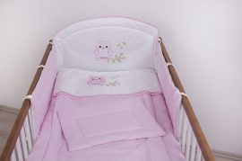 3 részes babaágynemű szett  Lulu bagoly rózsaszín pöttyös